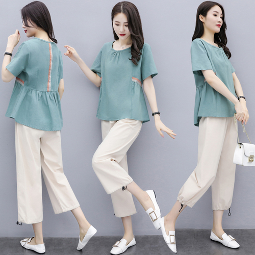 Summer Cotton Linen Two Piece Sets Outfits Women Blue Green Plus Size Short Sleeve Tops And Cropped Pants Casual Vintage Suits 34