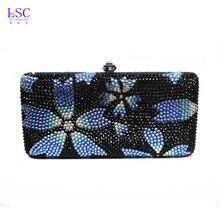 LaiSC blume abend handtasche kleine frauen Luxus diamant nacht tasche schwarz kristall frauen abend handtasche partei abendtasche SC066
