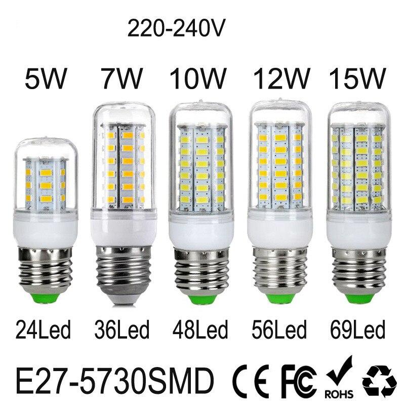 100pcs E27 LED Lamp 220V 240V SMD5730 LED Bulb 360 Degree Lighting 24 36 48 56 69 LEDs Bombillas LED Corn Light No Flickering