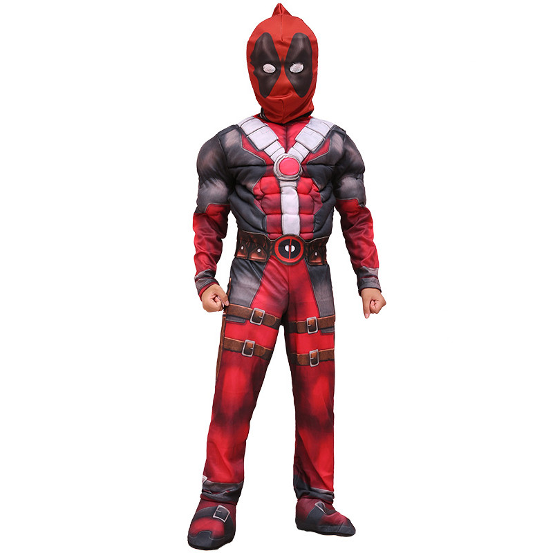 Kids Halloween Christmas Birthday Gift Cool Deadpool Muscle Cosplay Costume 2018 New Children Superhero Muscle Movie Costumes