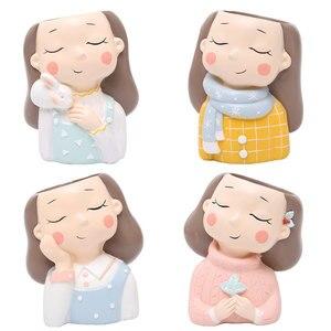 Image 5 - Roogo 귀여운 소녀 화분 현대 즙이 많은 냄비 홈 정원 식물 냄비 발코니 장식 난초 냄비 화분 cachepot