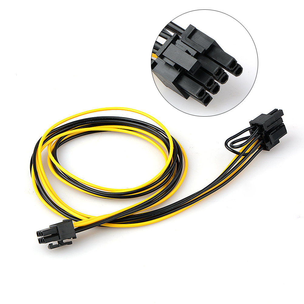 70cm 6 Pin Male To 8 Pin (6+2) Male PCI Express Power Adapter Cable For Graphics Video Card Connectors