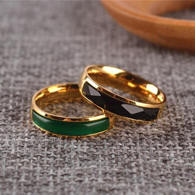 Elegant Green Opal Black yx Stone Narrow Band Ring Men Women