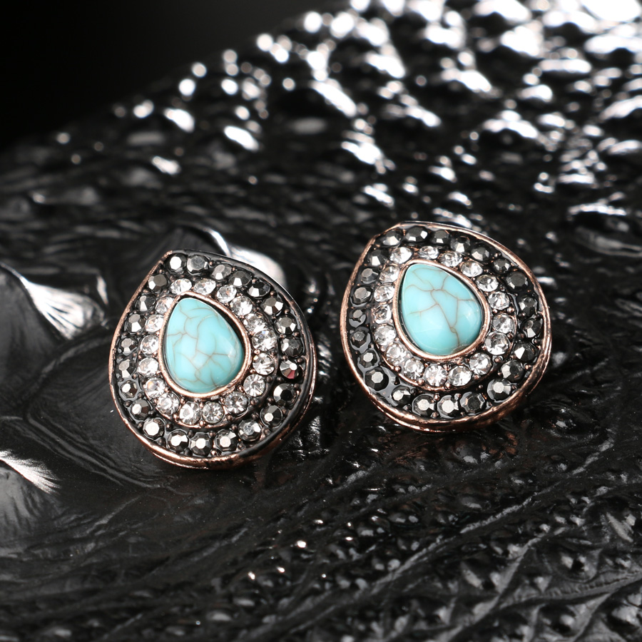 Luxury Drawing Resin Earrings For Women Ancient Rose Gold Color Black Crystal Water Drop Earring Retro Jewelry 2017 New