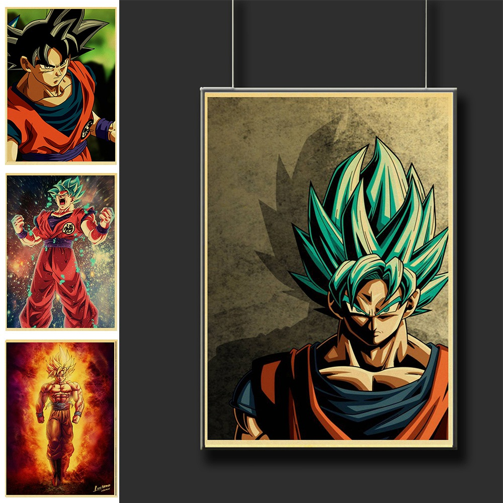 Vintage Japanese Anime Cartoon Dragon Ball Posters For Kids Room Decor Printed Art Retro Painting Wall Sticker