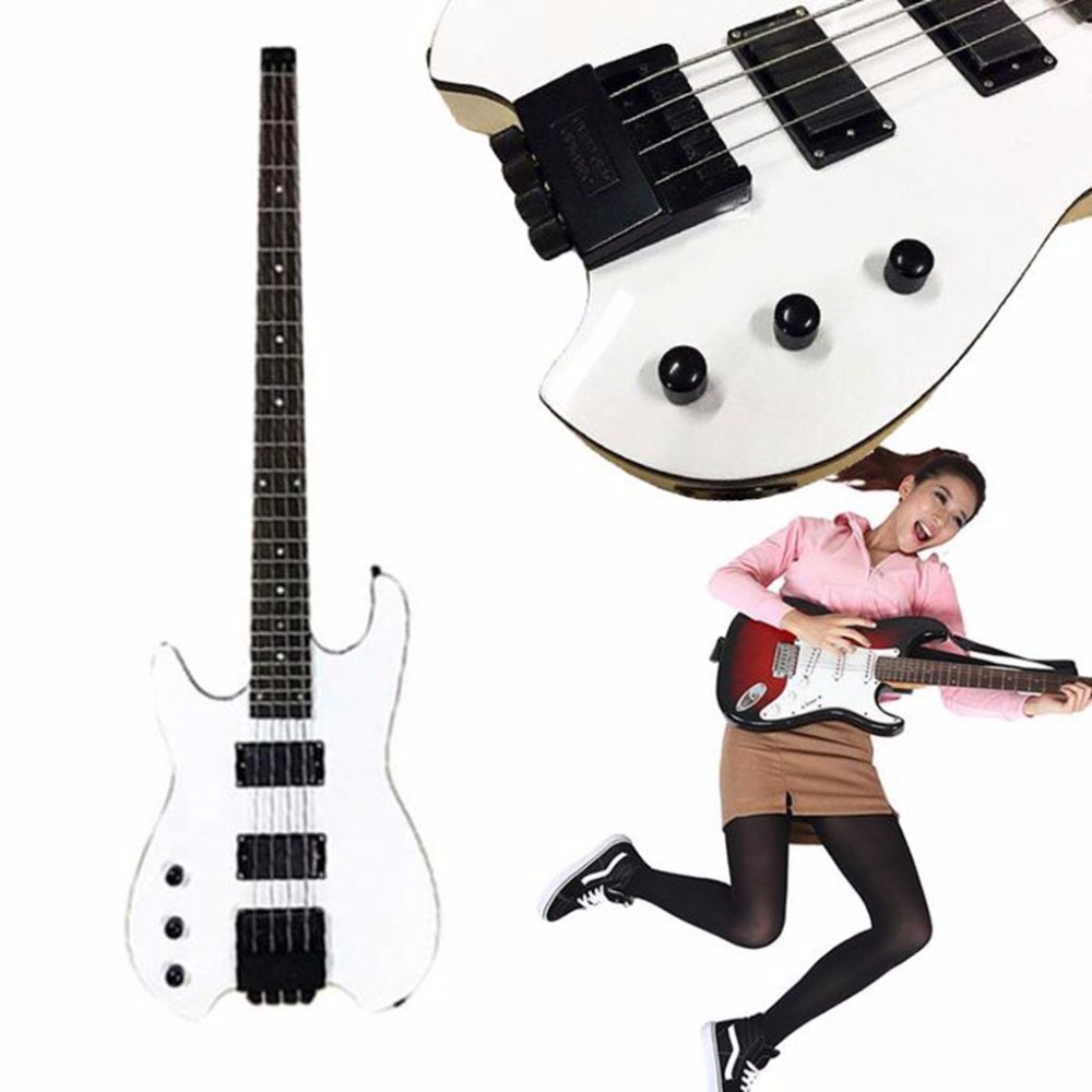 Headless Bass Guitar Music Toy Musical Instruments Custom Entertainment Basswood White Development New Year Gift wooden music child toy musical instrument set 11 piece per set toy musical instruments set