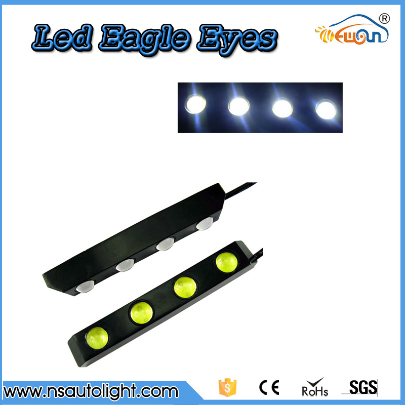 Hot high power 8w led eagle eyes light bar daytime running car driving fog auto backup tail lights