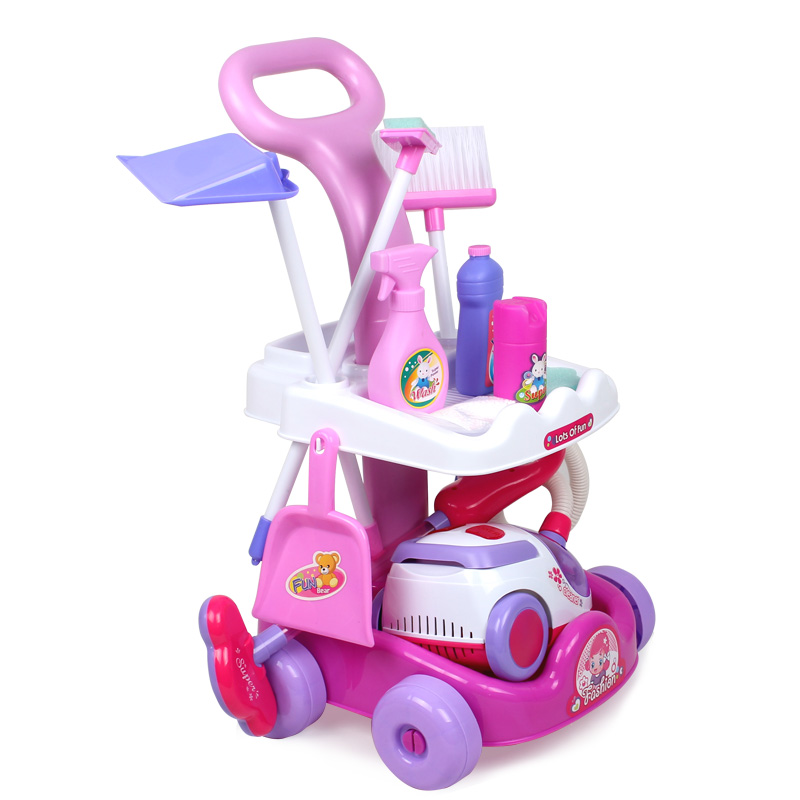 Girl toys child cart cleaning belt vacuum cleaner cleaning for Kitchen set for 10 year old