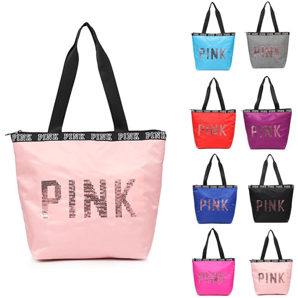 Oxford Women's Multifunctional Outdoor Letters Print  Sport Bag Training Gym Bag Sports Handbag Fitness Bag For Pink Gym Women