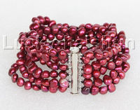 Free Shipping >>>>>8 8mm 6row Baroque wine red pearls bracelet magnet clasp j11128