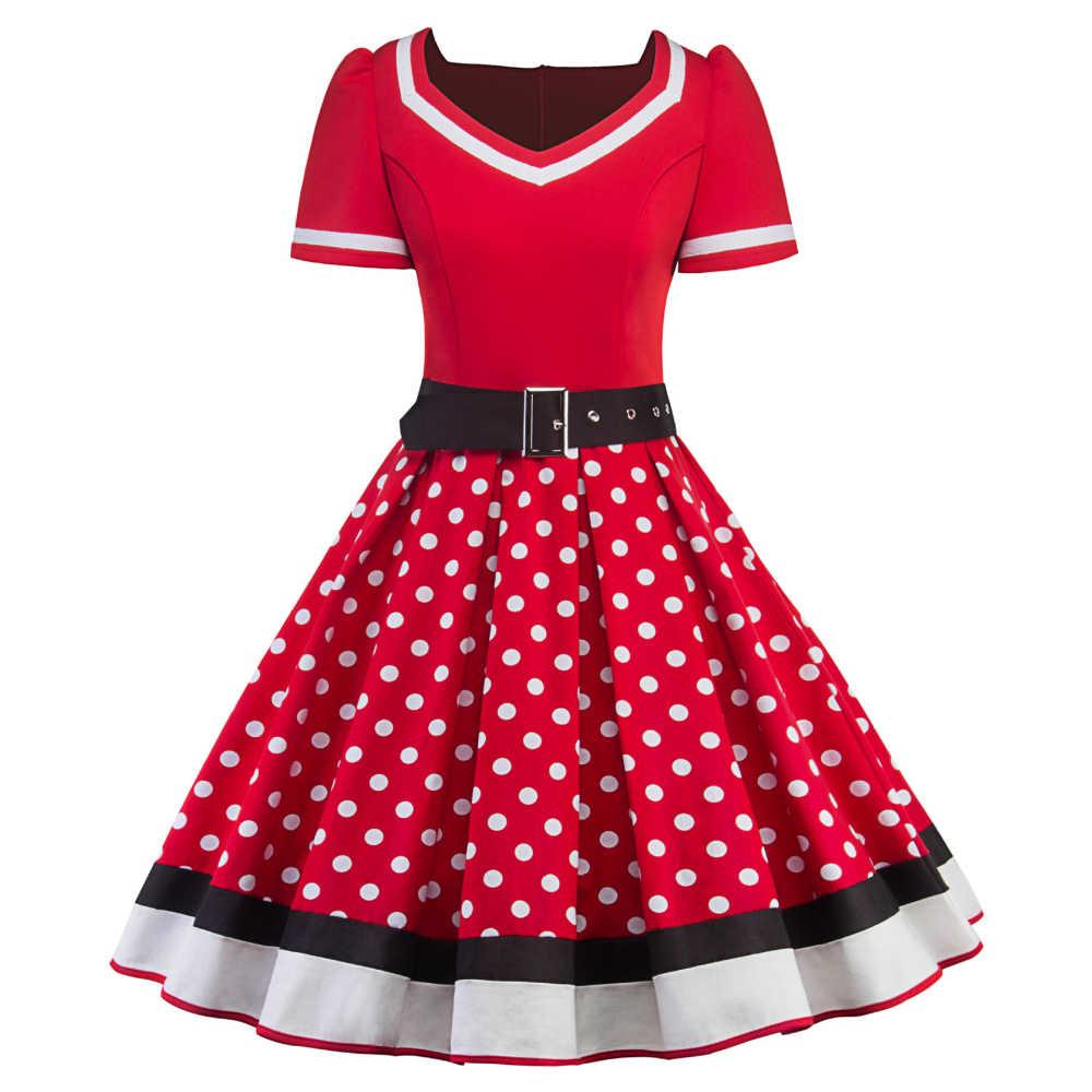 Joineles, модные печатные ленты в горошек, женское вечернее платье, рокабилли, Свинг, молния, винтажное платье, Одри Хепберн, Feminino Vestidos