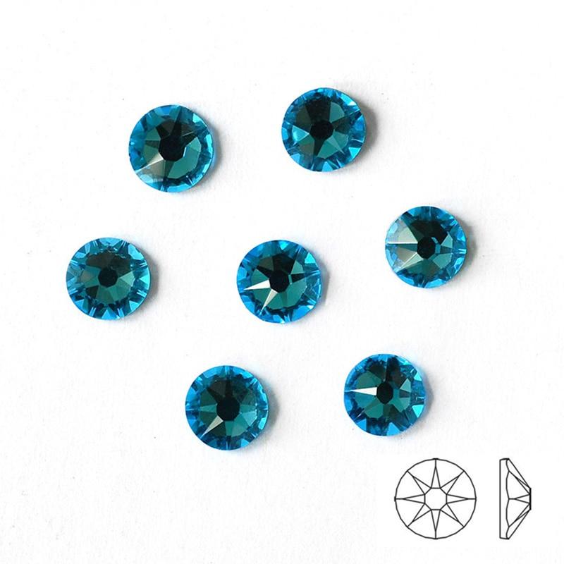 NUOYIMEIER (8 Big + 8 Small) Aquamarine Hot-Fix DIY Rhinestones for Handicrafts Ecoration Wedding Dresses Crystals for Clothes