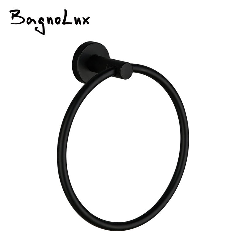 New Rust Proof  Stainless Steel Bathroom Accessories Wall Mount Single Towel Bar Towel Ring Towel Holder In Matt Black Finish