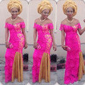 Hot Pink Nigerian Evening Dresses Aso Ebi Style Full Lace African Mermaid Prom Gowns Abendkleider Long Formal Party Dress