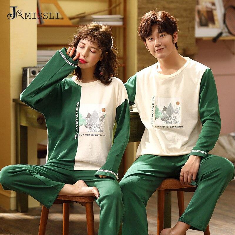 JRMISSLI Pajamas Sets Women Print Soft Cotton Carton Men Long Sleeve Sleepwear Suit 2 piece Sexy Spring Home Couple Lounge