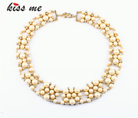 New Styles 2017 Fashion Jewelry Gold Color Imitation Glass Pearls Fashion Necklace