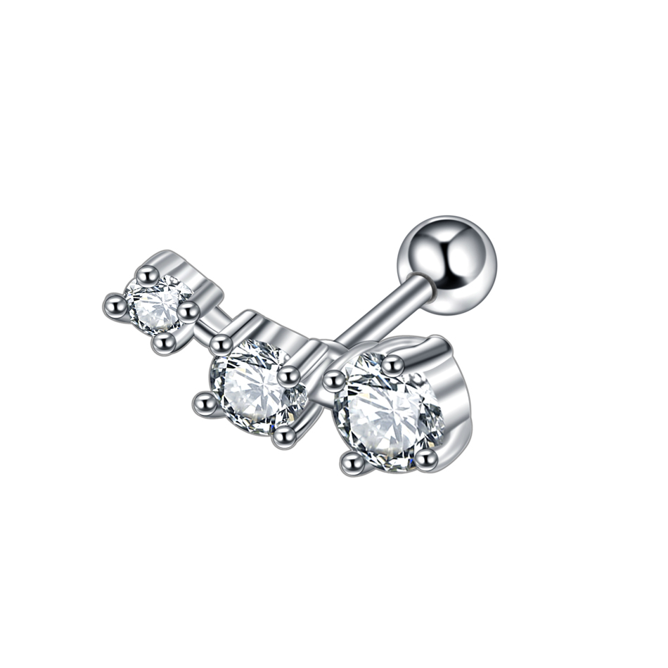 1PC Steel Crystal Gem Tragus Barbell Stud Ear Conch Helix Upper Ear Stud Earring