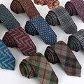 Corbata de lana flaco 6 cm floral corbata a cuadros de alta moda lazos para los hombres delgado corbatas pañuelo para hombre 2016 gravatas dos homens