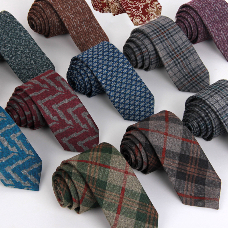 wool tie skinny 6 cm floral necktie high fashion plaid ...