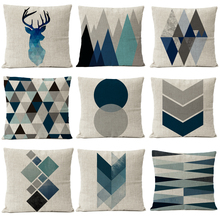 Nordic Blue Geometric Marble Pillow Cover Deer Cushion Cover Home Decorative Throw Linen Pillowcase sofa Pillow Covers цены