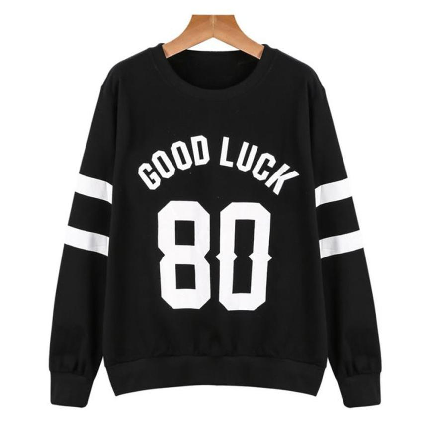 2017 beautiful vogue Women Letters Print Round Neck Long Sleeve Casual Sweatshirt Pullover Tops TW Autumn women cloth