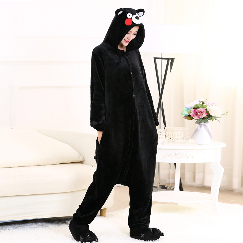 Cute Kumamon Kigurumi Onesie Animal Adult Men Women Black Pajamas For Halloween Party Jumpsuit Soft Flannel Cosplay Costume (5)