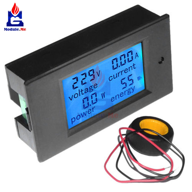AC 80-260V 0-100A Voltage Voltage Current Meter Digital LCD Wattmeter Power Energy Amperemeter Voltmeter Ammeter 110V 220V Meter