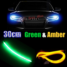2x 30cm Green&Amber DRL&Turn Signal Switchback Tube Style Flexible LED Strips for Car Motorcycle Headlight Universal Retrofit