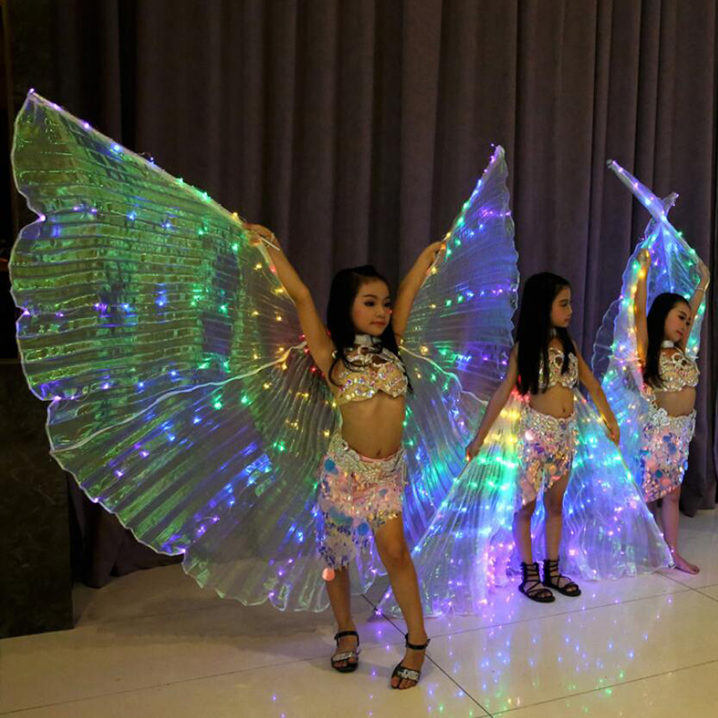 Kids Girl LED Bright Wings Costumes Belly Dance Light Up Show Dancing Isis Wings