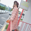 2017 Top quality striped real rex rabbit fur winter coat women stand collar full sleeve warm natural fur overcoat outerwear