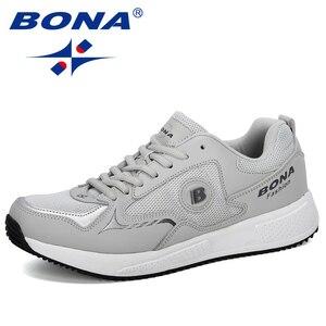 Image 5 - Мужские классические кроссовки BONA, уличные спортивные дышащие кроссовки из коровьего спилка для бега, прогулок и занятий спортом, 2019