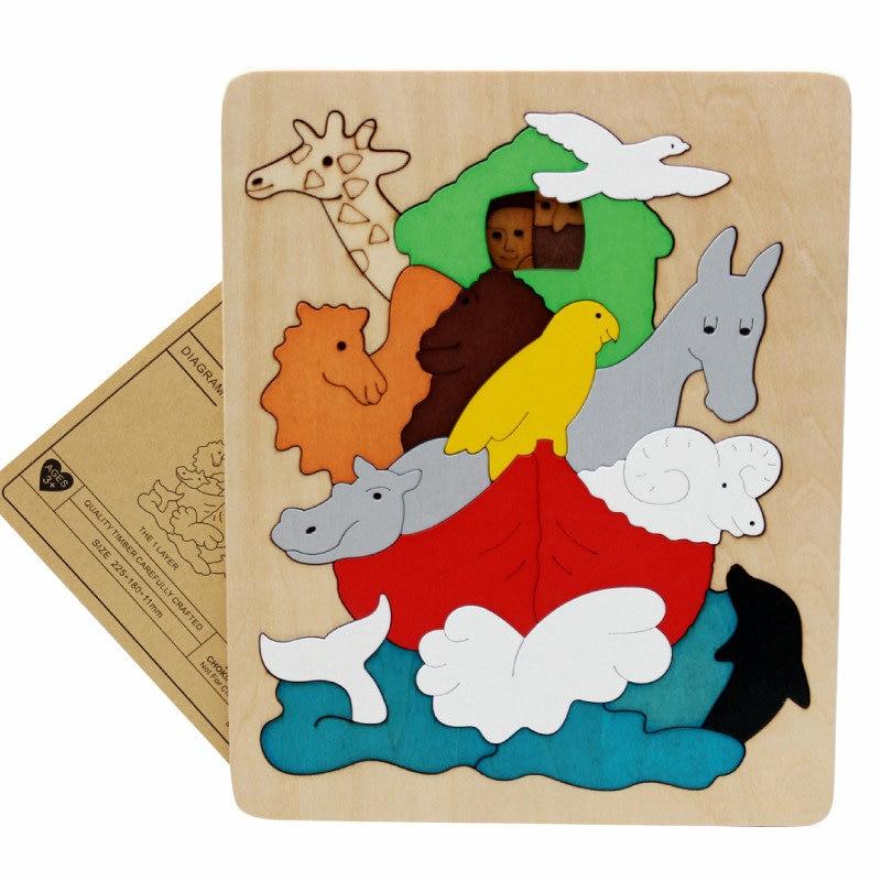 Gratis frakt barn / barn pedagogiska träleksaker multilayer tecknad - Spel och pussel - Foto 6