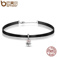 BAMOER Genuine 100 925 Sterling Silver Cherry Blossoms Sweet Pink Pendant Choker Necklace Women Fashion Jewelry