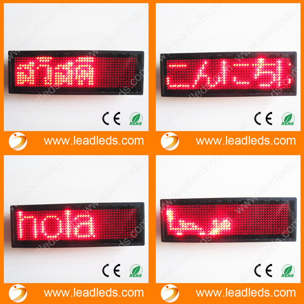 10pcs/lot LED Name Badge Card With Red Color And USB Programmable Cable Free Shipping