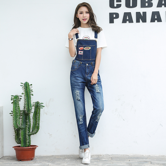 2d2d3b2d2669 Full Sizes Womens Jumpsuit Denim Overalls Women 2019 New Casual Strap Hole  Ripped Jeans two use Overalls