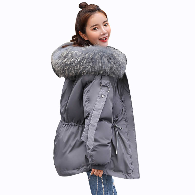 Rlyaeiz 2018 Fashion Winter Jacket Women Fake Raccoon Fur Collar Winter Coat Women Hooded Parkas Warm Jacket Female Outerwear