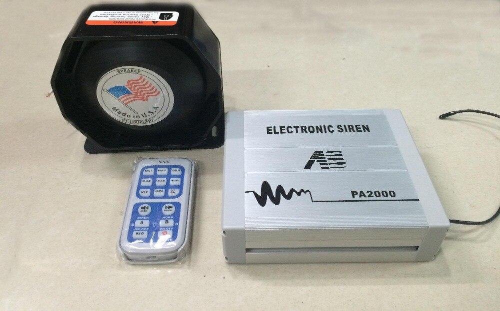 ФОТО 200W Electronic Siren PA2000 Police Alarm Wireless Remote Car Alarm Siren Horn Car Loudspeaker Police Megaphone Speaker