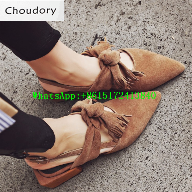 Choudory Solid Buckle Strap Sweet Med Heels New Casual Suede Sandals Women Square Heels Rome Fringe Butterfly-knot Shoes Women