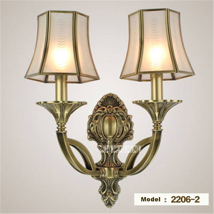 New 2206-2 European Style Copper Wall Lamp Aisle Lights Living Room Bedroom Balcony Corridor Outdoor Wall Lamp 110/220V 3-5m2New 2206-2 European Style Copper Wall Lamp Aisle Lights Living Room Bedroom Balcony Corridor Outdoor Wall Lamp 110/220V 3-5m2