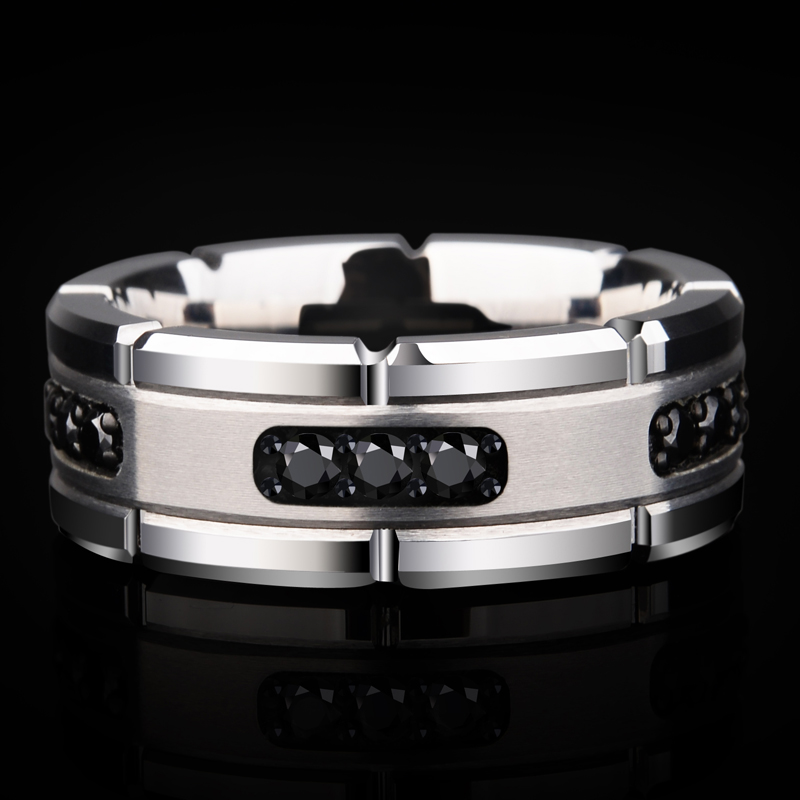 New Arrival 8MM Width Silver Tones White Tungsten Rings High Polished Inlay Black CZ Stones for Man's Wedding Band Size 7-10