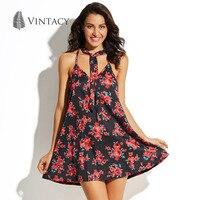 Vintacy Black Floral Print Beach Dress Women Sexy A Line V Neck Spaghetti Strap Sleeveless Halter