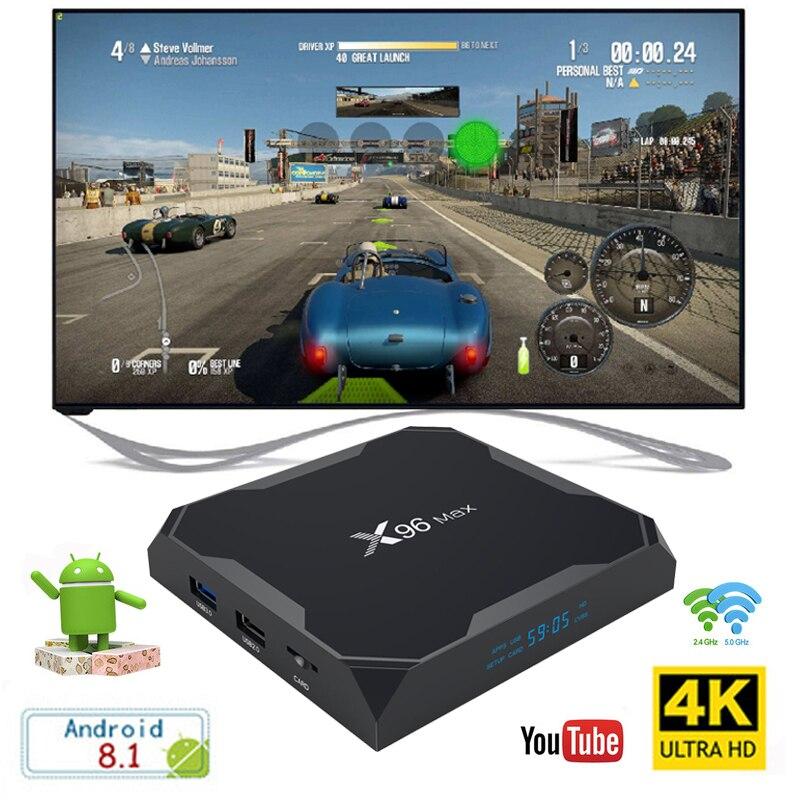 X96 Max boîtier de smart tv Android 8.1 Amlogic S905X2 4 GB LPDDR4 ROM Quad Core 64 GB RAM 2.4G & 5G Wifi BT 1000 M 4 K Set top box X96Max