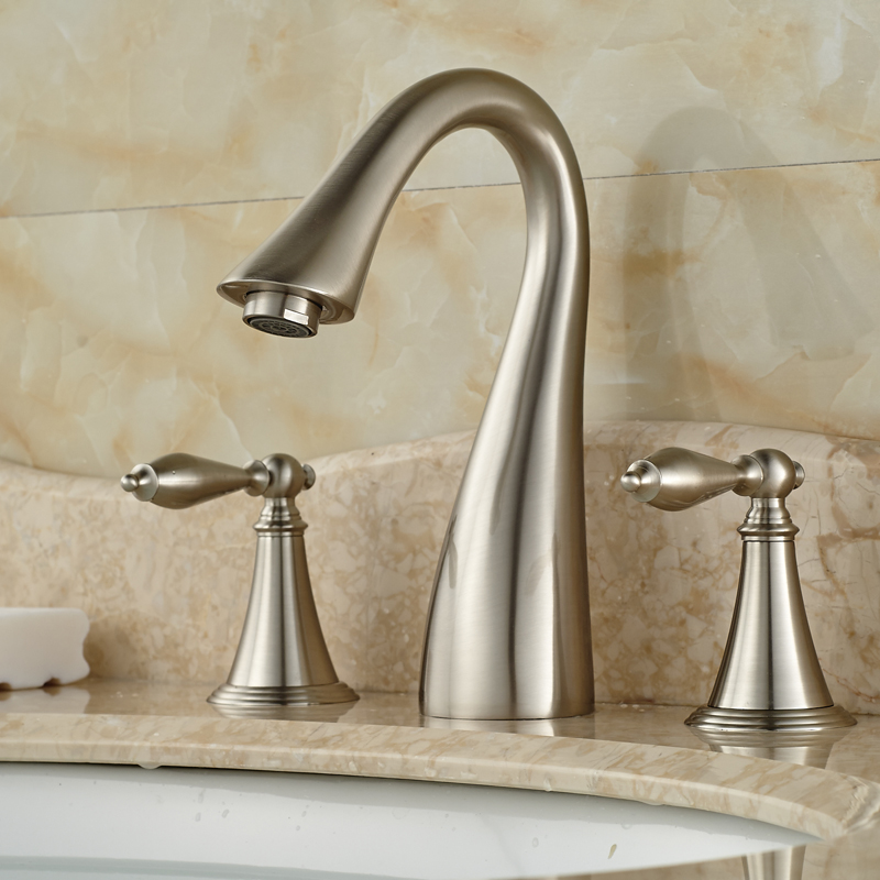 Widespread Spout Swan Shaped Dual Handles Three Holes Wash Basin Vessel Sink Mixer Taps Nickel