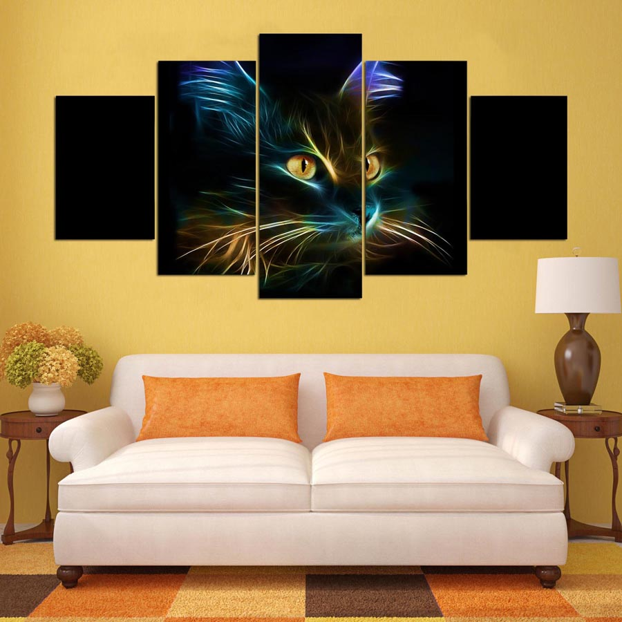 5 panel painting HD printed painting Abstract cat canvas home decor ...