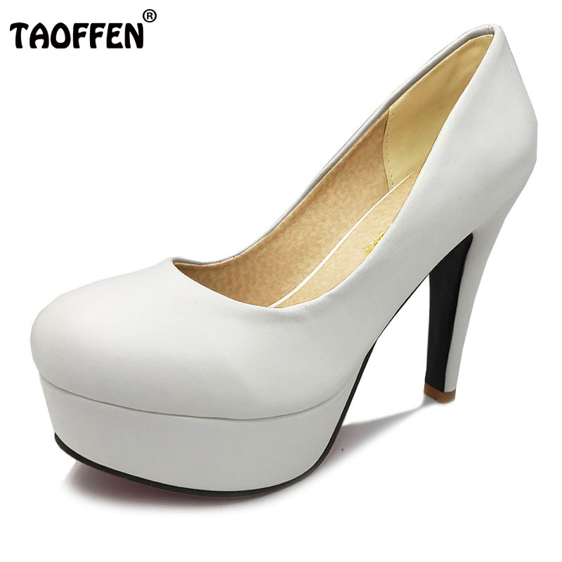 TAOFFEN free shipping high heel shoes women sexy dress footwear fashion lady female pumps P13066 hot sale EUR size 32-44 цены онлайн