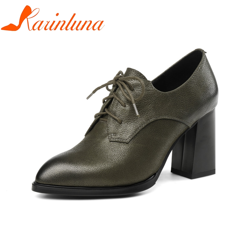 KARINLUNA High Quality Large Size 33-43 Cow Genuine Leather Hoof Heels Woman Shoes Pointed Toe Office High Heels Ladies Pumps size 33 43 new 2017 genuine leather womens shoes wedges pointed toe high heels women office & career shoes woman single shoes