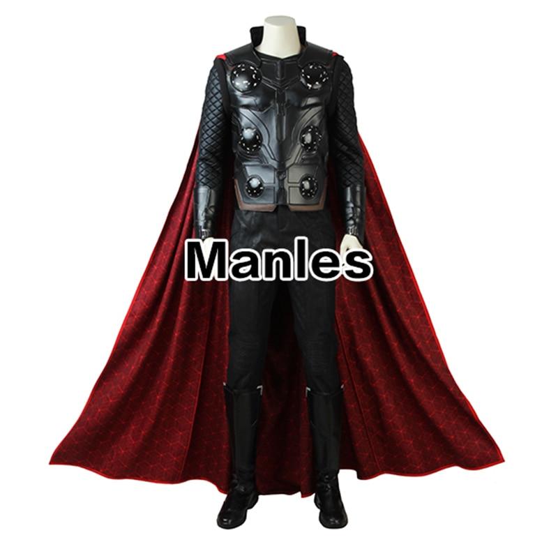 Avengers Infinity War Thor Cosplay Cloak Shirt Vest Pants Movie Superhero The Avengers 3 Costume Halloween Pants Adult Customize original factory big sale child muscle thor movie avergers superhero costume