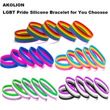 LGBT Pride Rainbow Pansexual Asexual Genderqueer Bisexual Wristband Jewelry Silicone Bracelet 10PCS