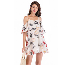 Women Summer Beach Chiffon Dress Casual Spaghetti Strap Print Floral Dress Female Boho Mini Party Dress Elegant V Neck Vestidos grey casual see through chiffon v neck curved mini dress