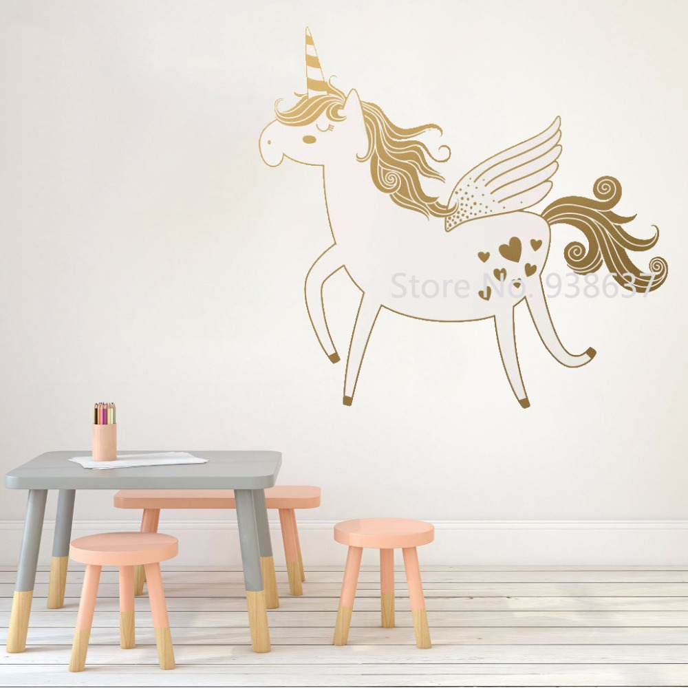 Unicorn Wall Stickers Bedroom Removable Nursery Wall Decals Living Room Home Decor Monochrome Vinyl Art Sticker Wallpaper Jw In Wall Stickers From Home
